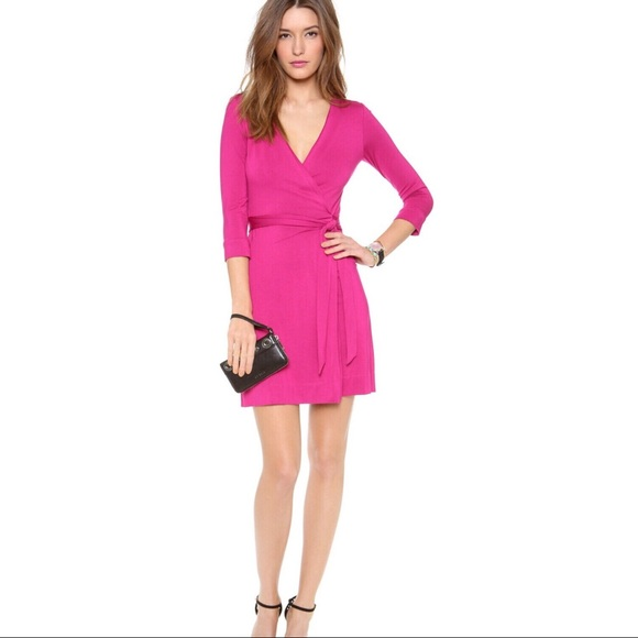 0c8dbc4210a3 Diane Von Furstenberg Dresses & Skirts - DVF New Julian Two Mini Wrap Dress  in Pink